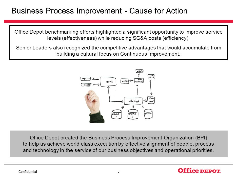 Confidential 3 Business Process Improvement - Cause for Action Office Depot benchmarking efforts highlighted a significant opportunity to improve serv