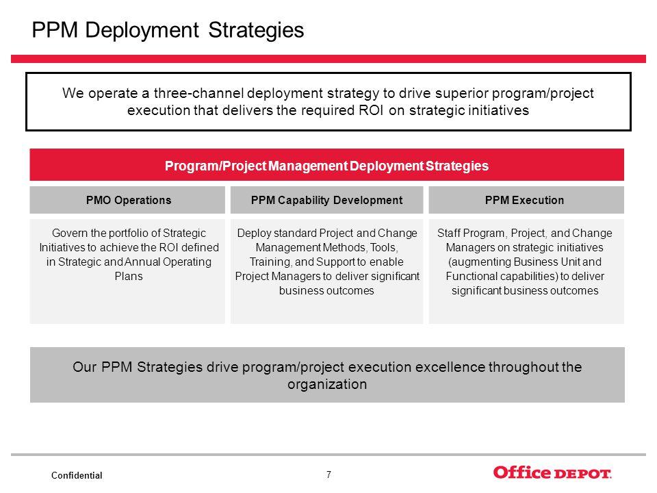 Confidential 7 PPM Deployment Strategies Program/Project Management Deployment Strategies PMO Operations PPM Capability DevelopmentPPM Execution Gover