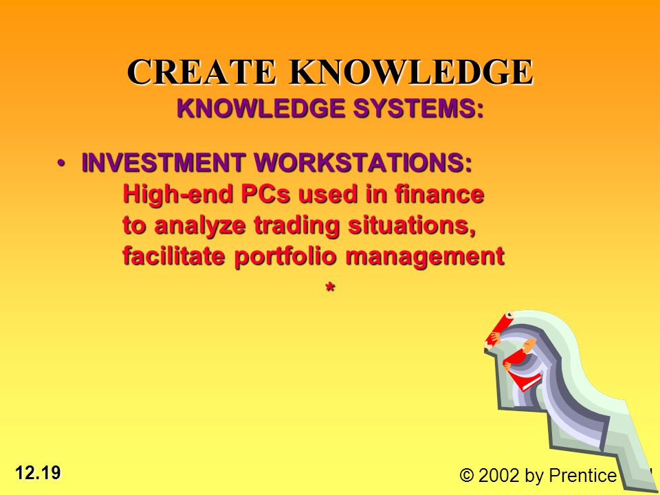 12.19 © 2002 by Prentice Hall INVESTMENT WORKSTATIONS: High-end PCs used in finance to analyze trading situations, facilitate portfolio managementINVE