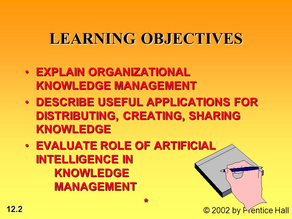12.3 © 2002 by Prentice Hall LEARNING OBJECTIVES DEMONSTRATE HOW ORGANIZATIONS USE EXPERT SYSTEMS, CASE-BASED REASONING TO CAPTURE KNOWLEDGEDEMONSTRATE HOW ORGANIZATIONS USE EXPERT SYSTEMS, CASE-BASED REASONING TO CAPTURE KNOWLEDGE DEMONSTRATE HOW NEURAL NETWORKS & OTHER TECHNIQUES IMPROVE KNOWLEDGE BASEDEMONSTRATE HOW NEURAL NETWORKS & OTHER TECHNIQUES IMPROVE KNOWLEDGE BASE*
