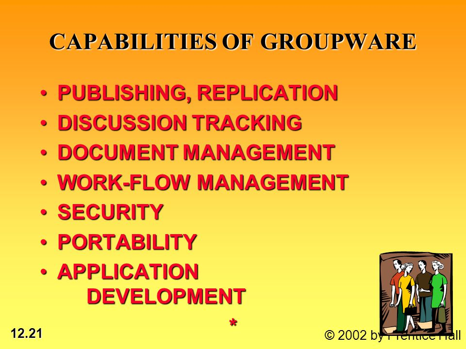 12.21 © 2002 by Prentice Hall CAPABILITIES OF GROUPWARE PUBLISHING, REPLICATIONPUBLISHING, REPLICATION DISCUSSION TRACKINGDISCUSSION TRACKING DOCUMENT