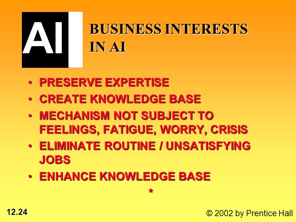 12.24 © 2002 by Prentice Hall AI BUSINESS INTERESTS IN AI PRESERVE EXPERTISEPRESERVE EXPERTISE CREATE KNOWLEDGE BASECREATE KNOWLEDGE BASE MECHANISM NOT SUBJECT TO FEELINGS, FATIGUE, WORRY, CRISISMECHANISM NOT SUBJECT TO FEELINGS, FATIGUE, WORRY, CRISIS ELIMINATE ROUTINE / UNSATISFYING JOBSELIMINATE ROUTINE / UNSATISFYING JOBS ENHANCE KNOWLEDGE BASEENHANCE KNOWLEDGE BASE*