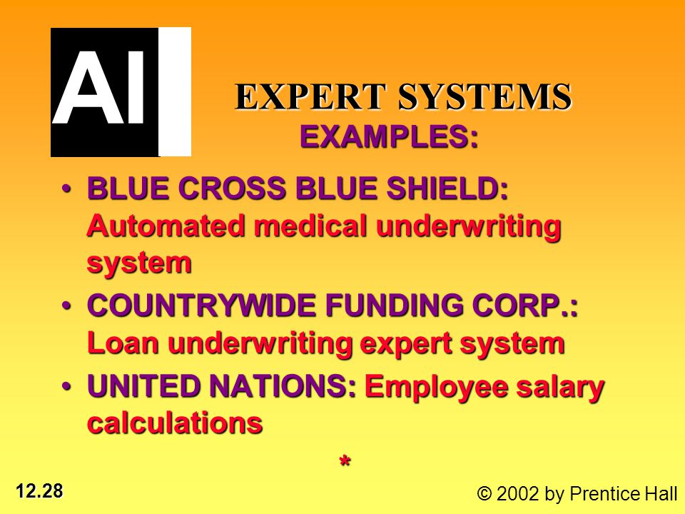 12.28 © 2002 by Prentice Hall EXPERT SYSTEMS EXAMPLES: EXPERT SYSTEMS EXAMPLES: BLUE CROSS BLUE SHIELD: Automated medical underwriting systemBLUE CROS