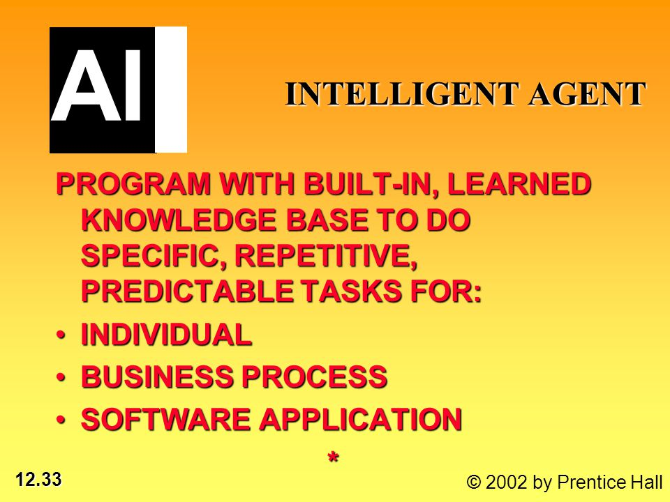 12.33 © 2002 by Prentice Hall INTELLIGENT AGENT INTELLIGENT AGENT PROGRAM WITH BUILT-IN, LEARNED KNOWLEDGE BASE TO DO SPECIFIC, REPETITIVE, PREDICTABLE TASKS FOR: INDIVIDUALINDIVIDUAL BUSINESS PROCESSBUSINESS PROCESS SOFTWARE APPLICATIONSOFTWARE APPLICATION* AI