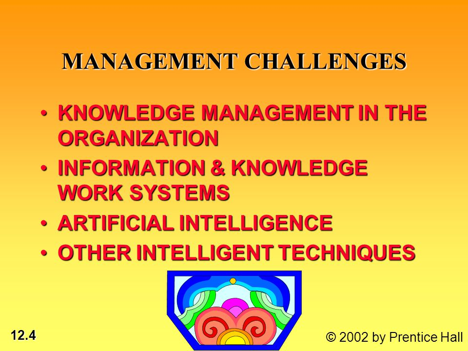 12.4 © 2002 by Prentice Hall MANAGEMENT CHALLENGES KNOWLEDGE MANAGEMENT IN THE ORGANIZATIONKNOWLEDGE MANAGEMENT IN THE ORGANIZATION INFORMATION & KNOW