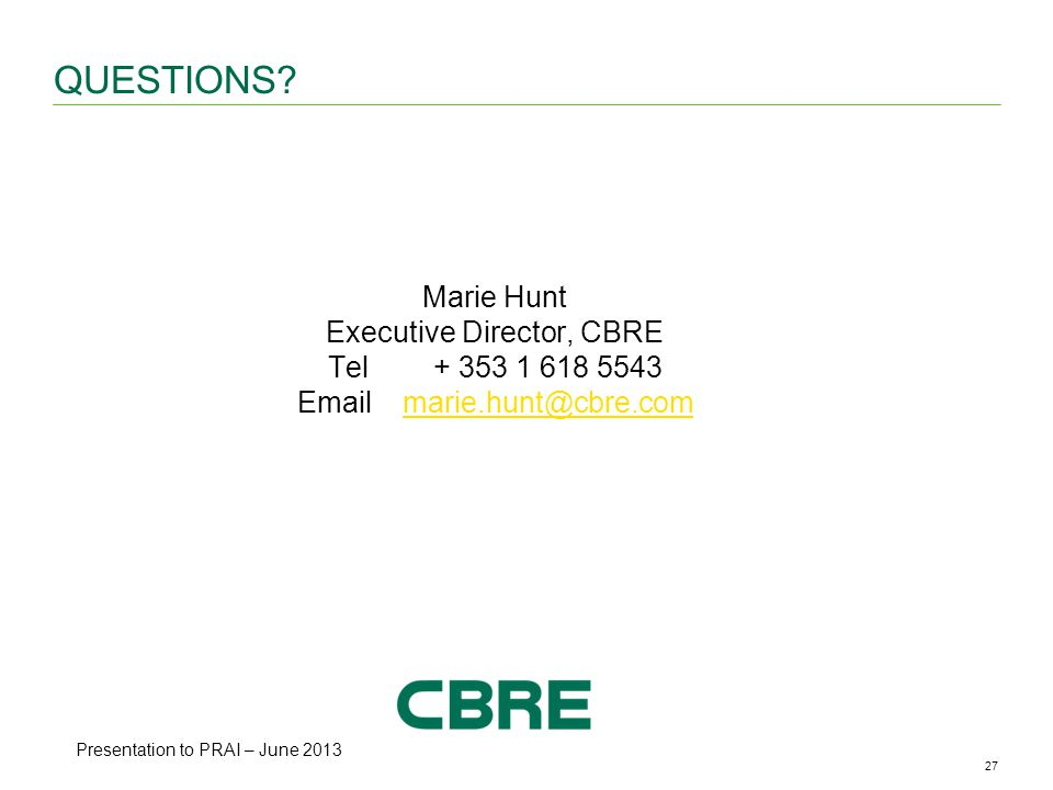 27CBRE ANALYSIS | Office Availability & Vacancy Rates | May 2013 QUESTIONS.