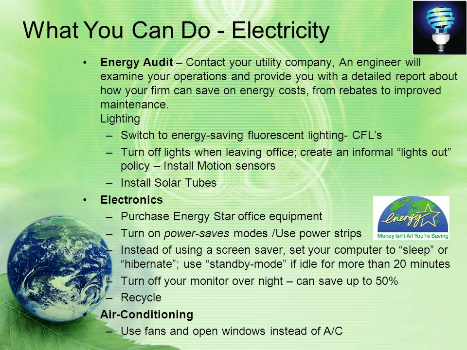 What You Can Do - Electricity Energy Audit – Contact your utility company, An engineer will examine your operations and provide you with a detailed report about how your firm can save on energy costs, from rebates to improved maintenance.
