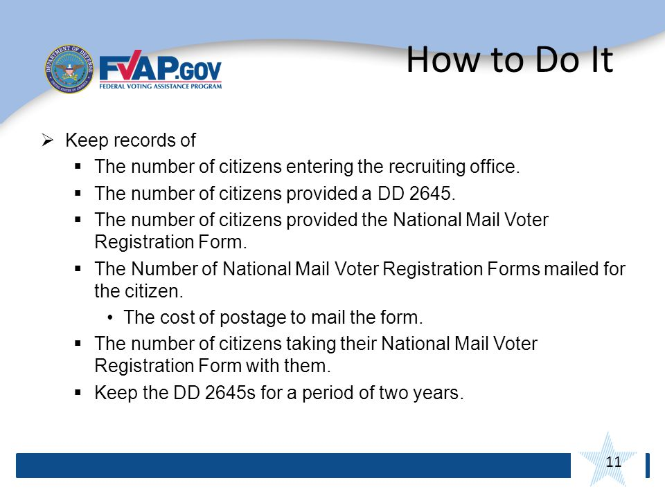 11 How to Do It Keep records of The number of citizens entering the recruiting office.