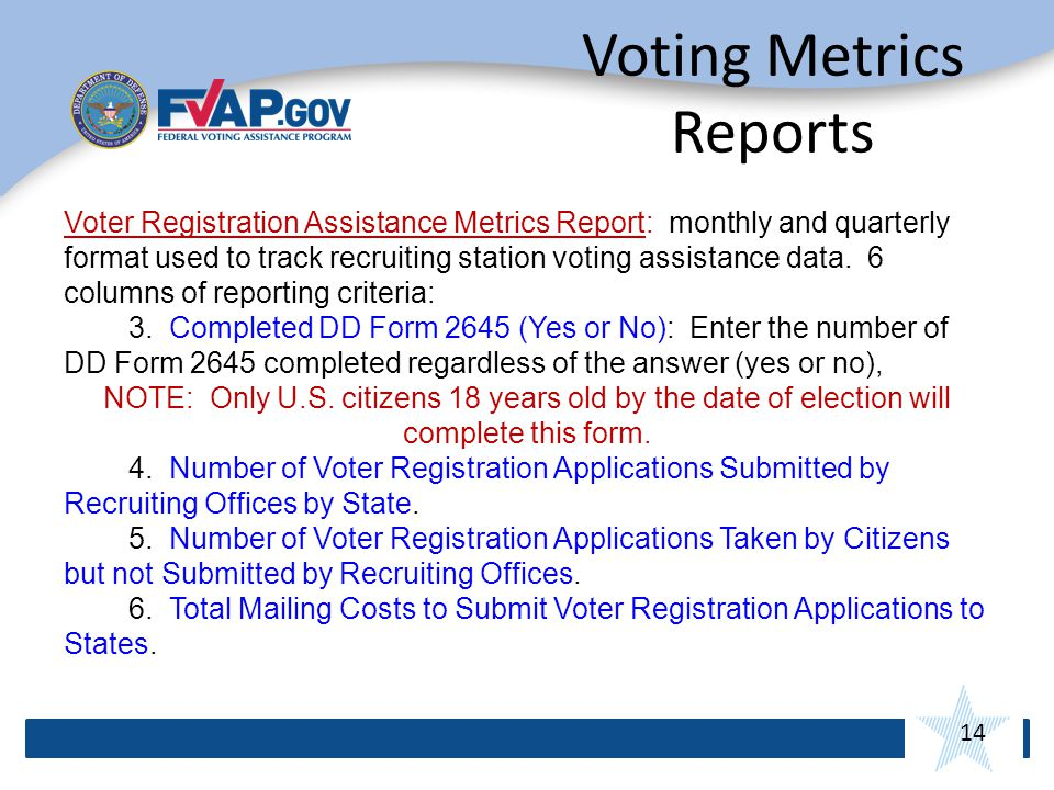 14 Voting Metrics Reports Voter Registration Assistance Metrics Report: monthly and quarterly format used to track recruiting station voting assistance data.