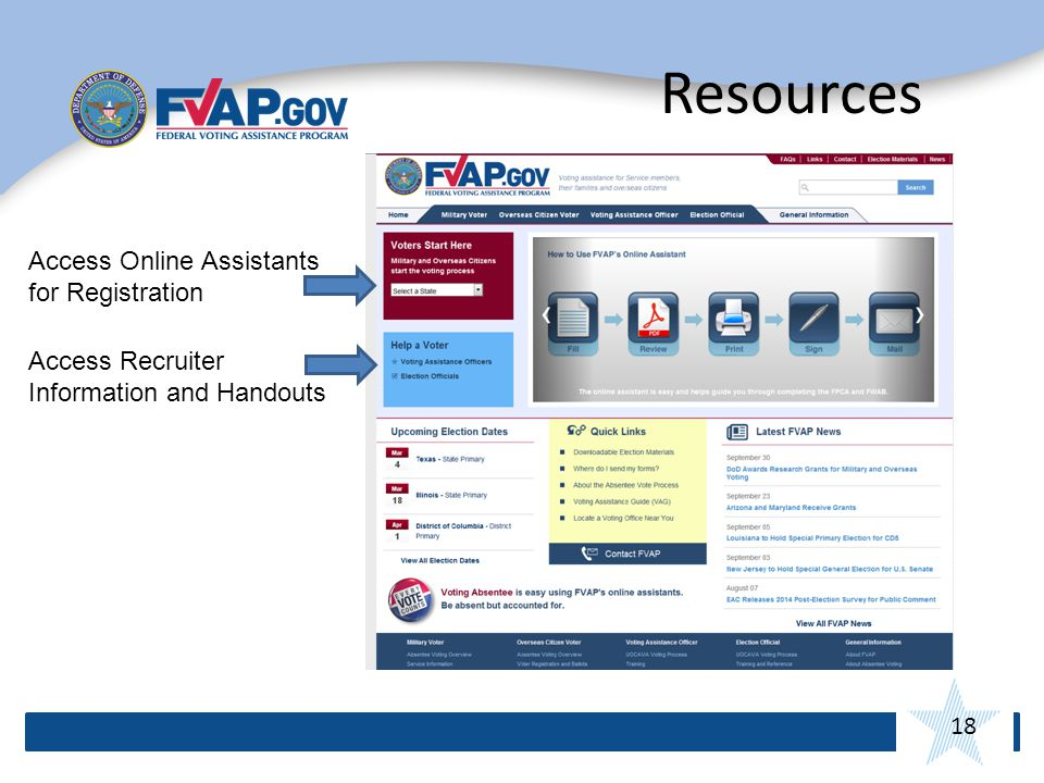 18 Resources Access Online Assistants for Registration Access Recruiter Information and Handouts