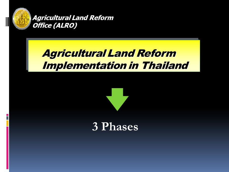 Agricultural Land Reform Office (ALRO) Agricultural Land Reform Implementation in Thailand 3 Phases