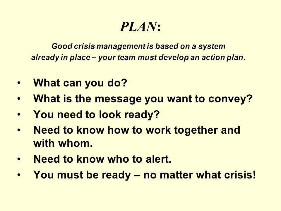 PLAN: Good crisis management is based on a system already in place – your team must develop an action plan.