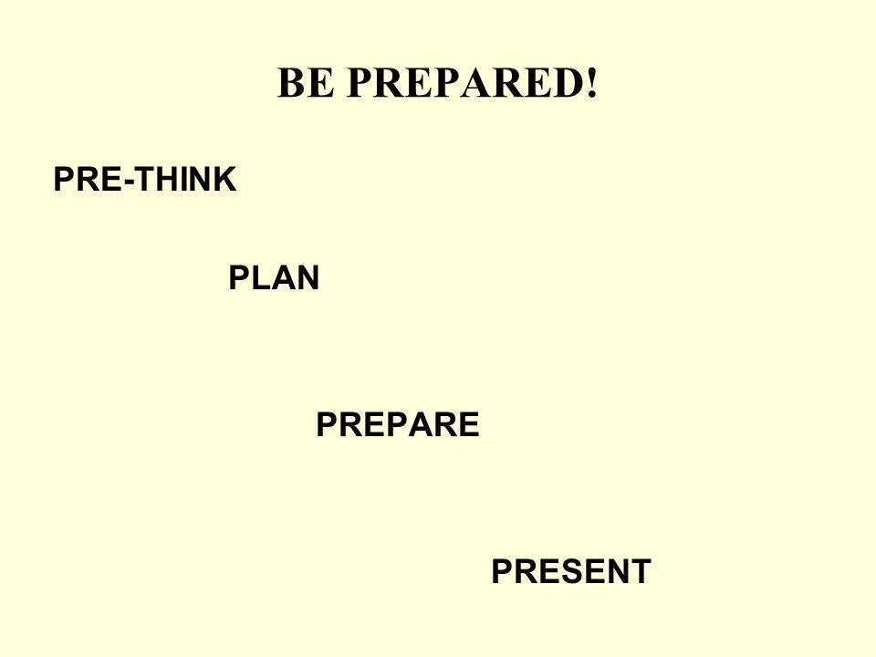 BE PREPARED! PRE-THINK PLAN PREPARE PRESENT