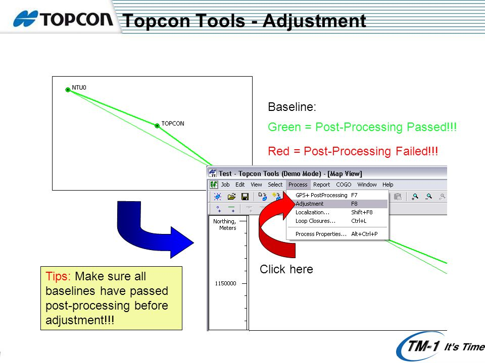 Topcon Tools - Adjustment Green = Post-Processing Passed!!! Click here Red = Post-Processing Failed!!! Baseline: Tips: Make sure all baselines have pa