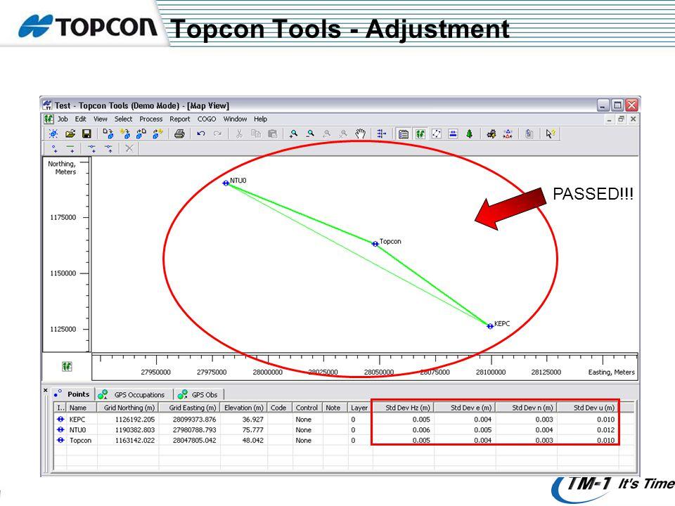 Topcon Tools - Adjustment PASSED!!!