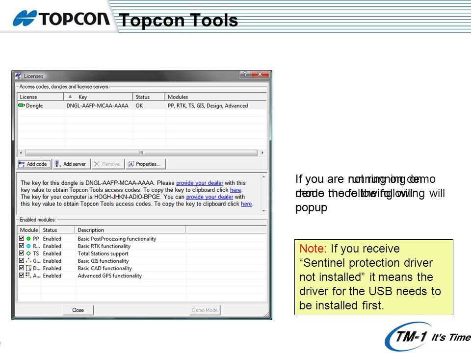 Topcon Tools - Options Right - Click Click here