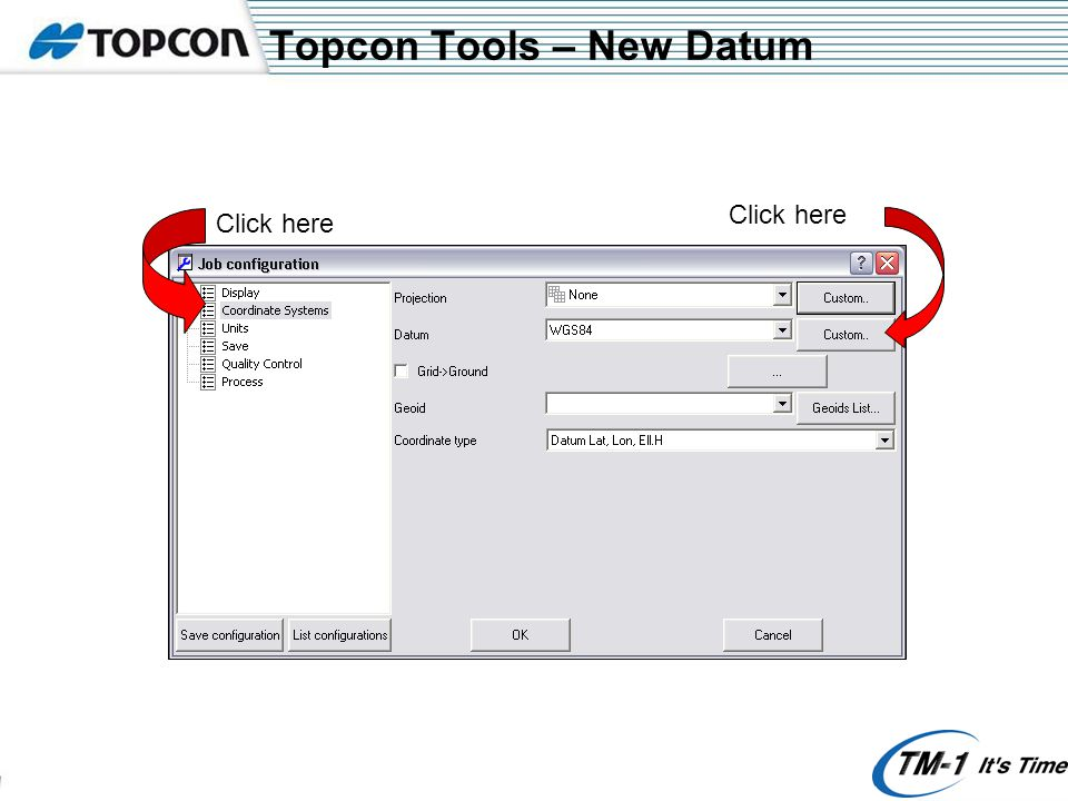 Topcon Tools – Control point Click here and select what type of control point you want it to be If you are using an auto pos for coordinate you require to key in the actual coordinate The icon will change to triangle to show that it is a control point