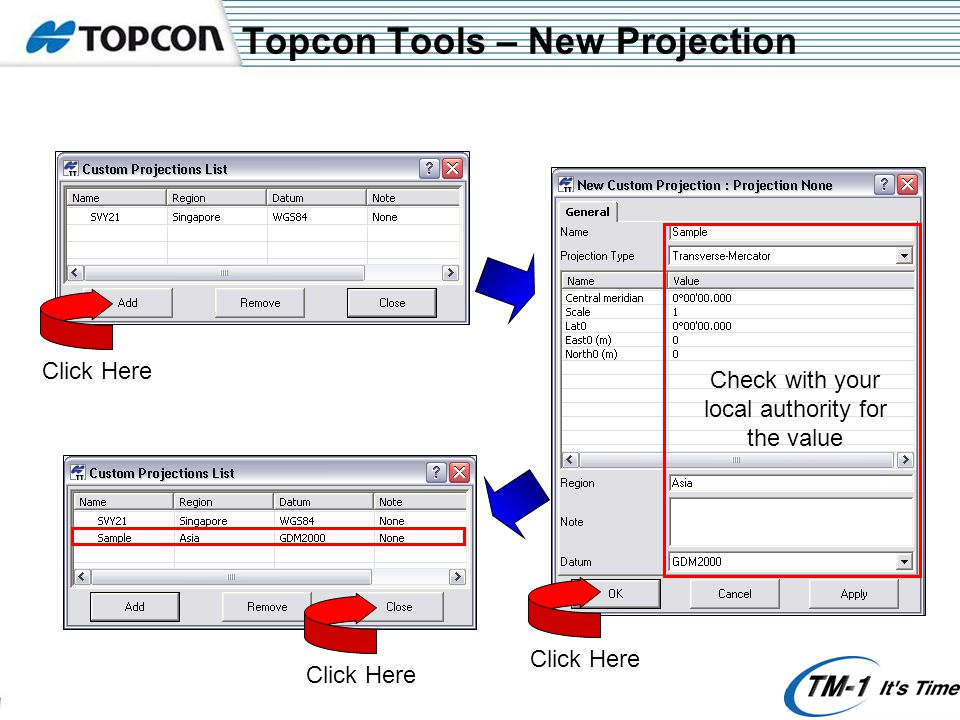 Topcon Tools – New Projection Click Here Check with your local authority for the value