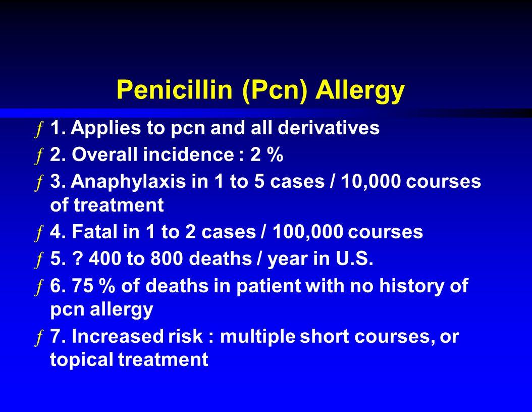 Penicillin (Pcn) Allergy ƒ1.Applies to pcn and all derivatives ƒ2.