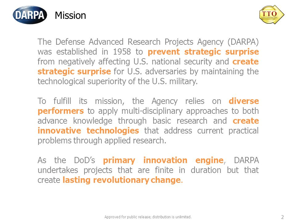 www.darpa.mil Approved for public release; distribution is unlimited. 13
