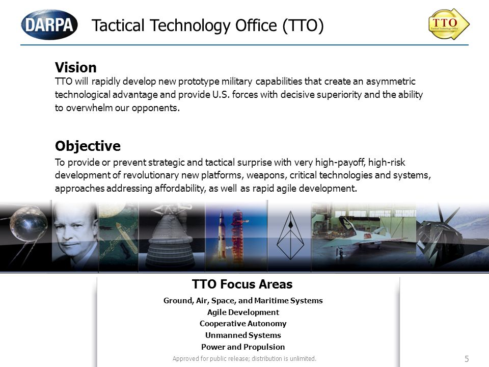Tactical Technology Office (TTO) Aero-& Hydrodynamic Systems (13) Tactical Technologies (8) Vision TTO will rapidly develop new prototype military cap