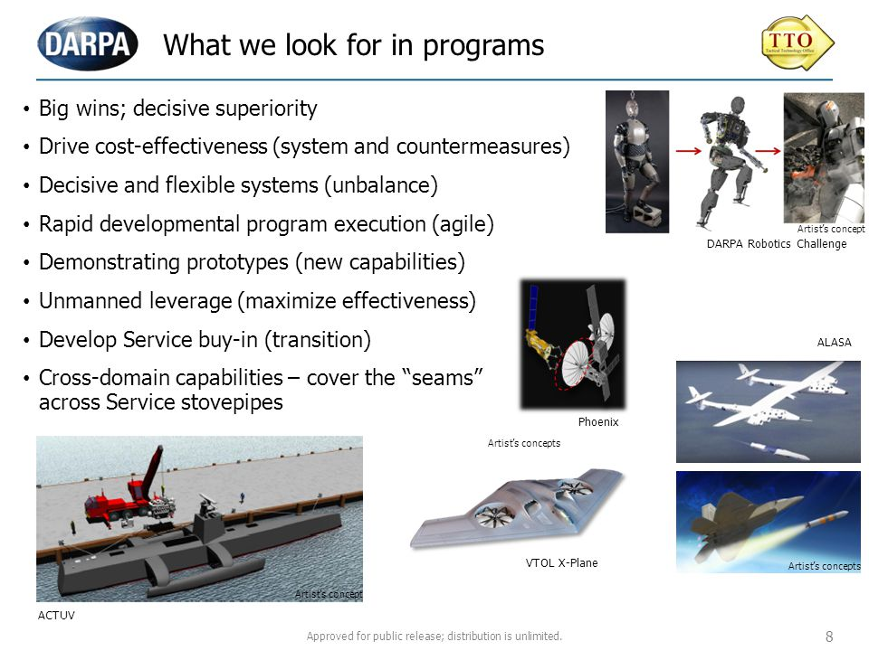 Ground Systems Maritime Systems Air Systems Space Systems Systems focus areas Robotics Challenge Amplify unit / soldier effectiveness ACTUVVTOL X-Plane Control the air anytime / anywhere Control the sea, influence events on land Phoenix Normalize and simplify space Cross-cutting Themes Agile development approach, autonomy, unmanned systems, power and propulsion Approved for public release; distribution is unlimited.