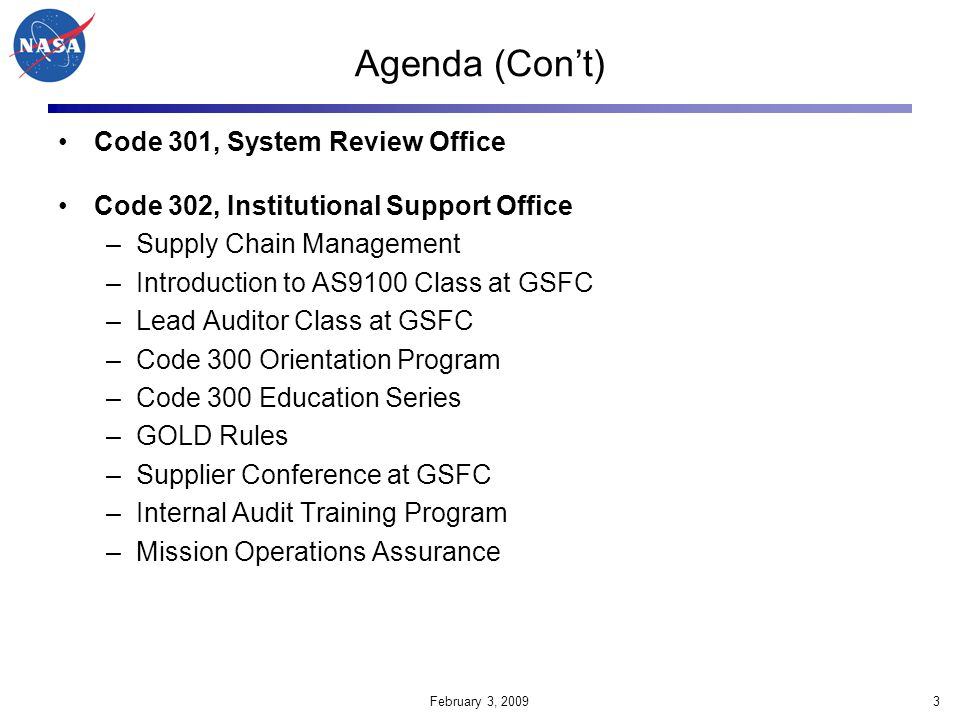 February 3, 200964 GSFC Safety Organizations (as documented in new GPR 8710.5 GSFC Safety Program Management) Assistant Director Safety & Security (Code 100) System Safety Greenbelt (Code 321) Institutional Safety (Code 250) System Safety & OS&H Wallops (Code 803) Greenbelt I&T Facility Safety Lab Safety (Code 500) Lifting Devices & Pressure Vessels Recertification (Code 540)