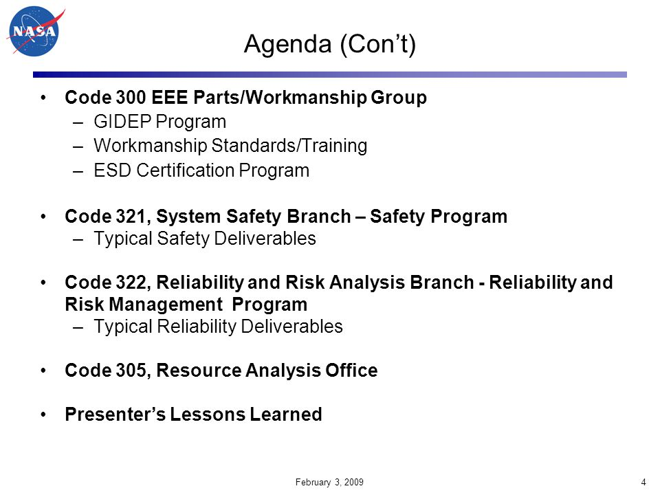 February 3, 200935 The following chart is a sample assessment One-Pager that is presented to Code 300 management after each assessment.