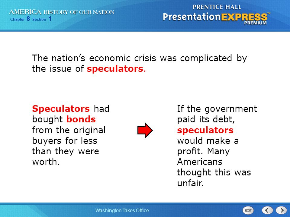 Chapter 8 Section 1 Washington Takes Office The nations economic crisis was complicated by the issue of speculators.