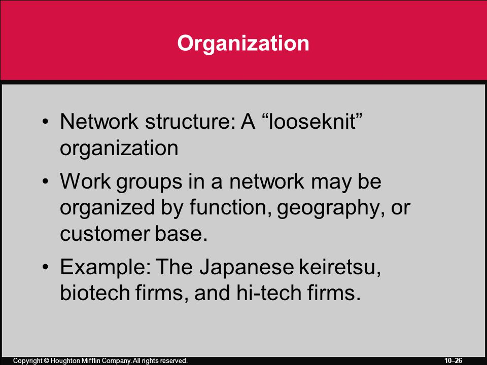 Copyright © Houghton Mifflin Company.All rights reserved. 10–26 Organization Network structure: A looseknit organization Work groups in a network may