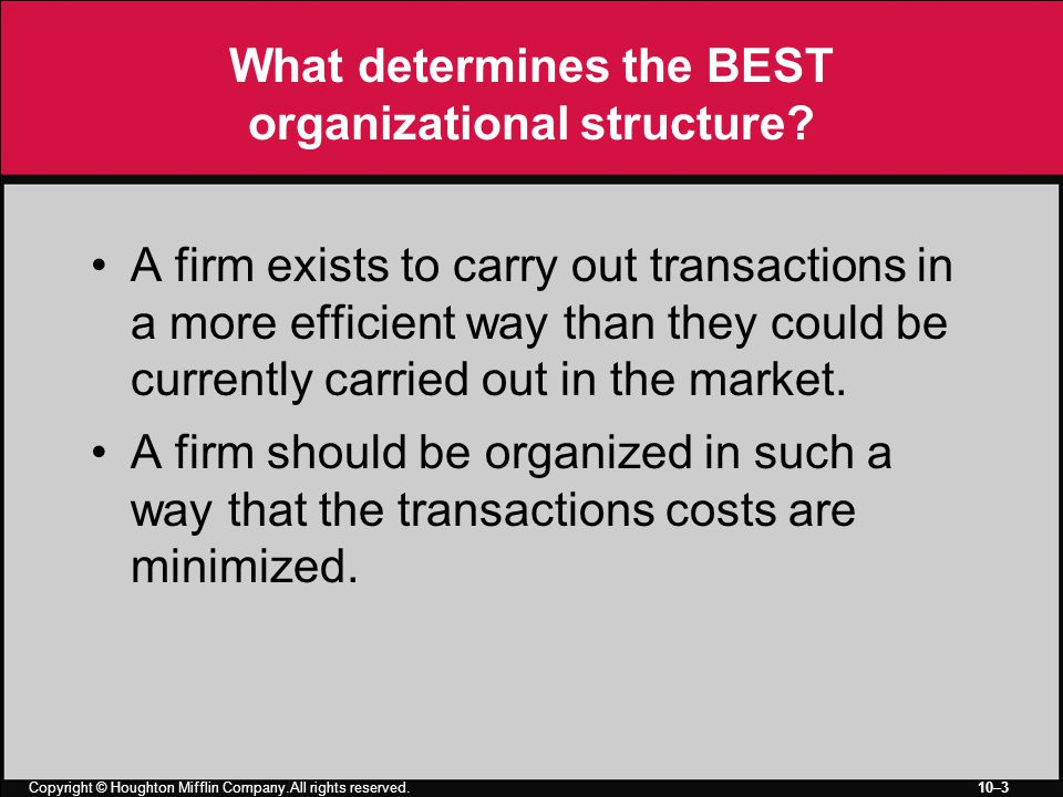 Copyright © Houghton Mifflin Company.All rights reserved. 10–3 What determines the BEST organizational structure? A firm exists to carry out transacti