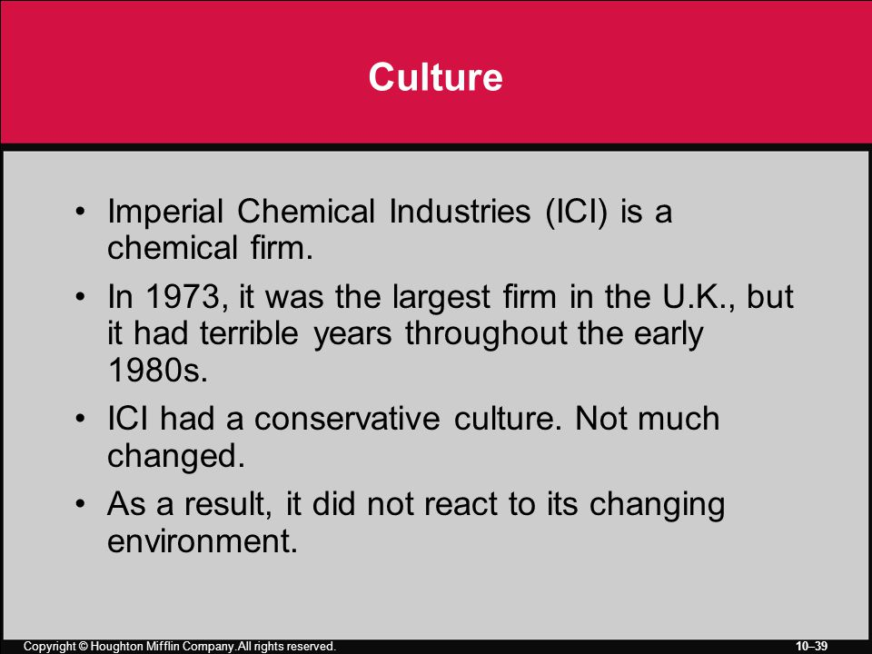 Copyright © Houghton Mifflin Company.All rights reserved. 10–39 Culture Imperial Chemical Industries (ICI) is a chemical firm. In 1973, it was the lar