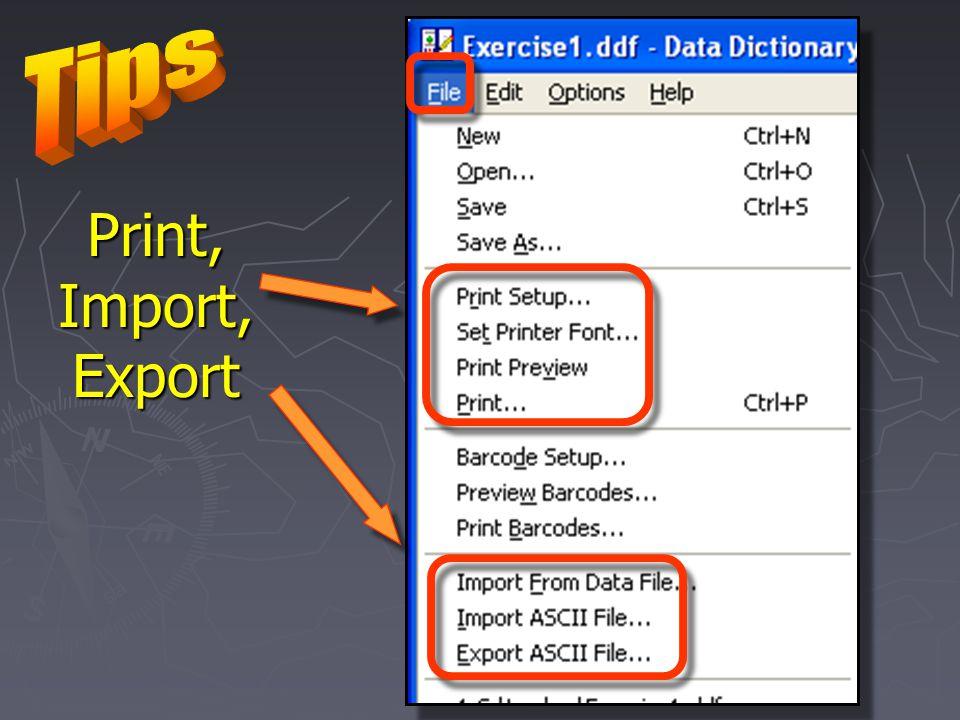 Print, Import, Export