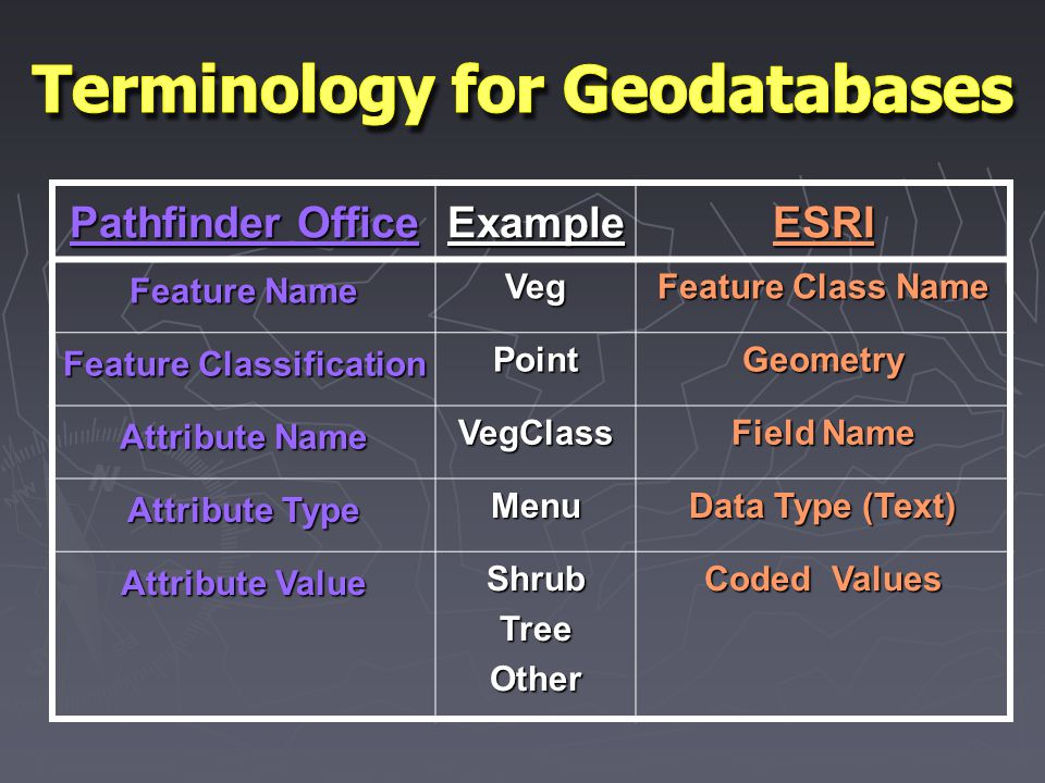 Pathfinder Office ExampleESRI Feature Name Veg Feature Class Name Feature Classification PointGeometry Attribute Name VegClass Field Name Attribute Type Menu Data Type (Text) Attribute Value ShrubTreeOther Coded Values