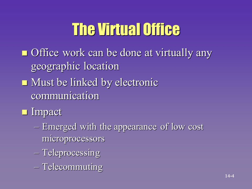 The Virtual Office n Office work can be done at virtually any geographic location n Must be linked by electronic communication n Impact –Emerged with