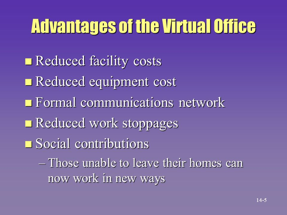 Disadvantages of the Virtual Office n Sense of not belonging n Fear of job loss n Low morale n Family tension These are disadvantages to the employee.
