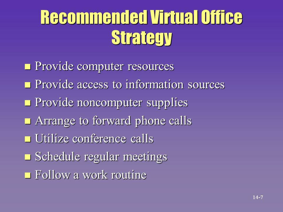 Recommended Virtual Office Strategy n Provide computer resources n Provide access to information sources n Provide noncomputer supplies n Arrange to f