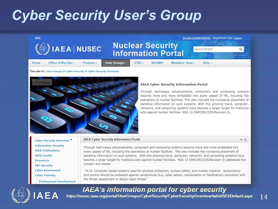 IAEA Cyber Security Users Group IAEAs information portal for cyber security https://nusec.iaea.org/portal/UserGroups/CyberSecurity/CyberSecurityOvervi