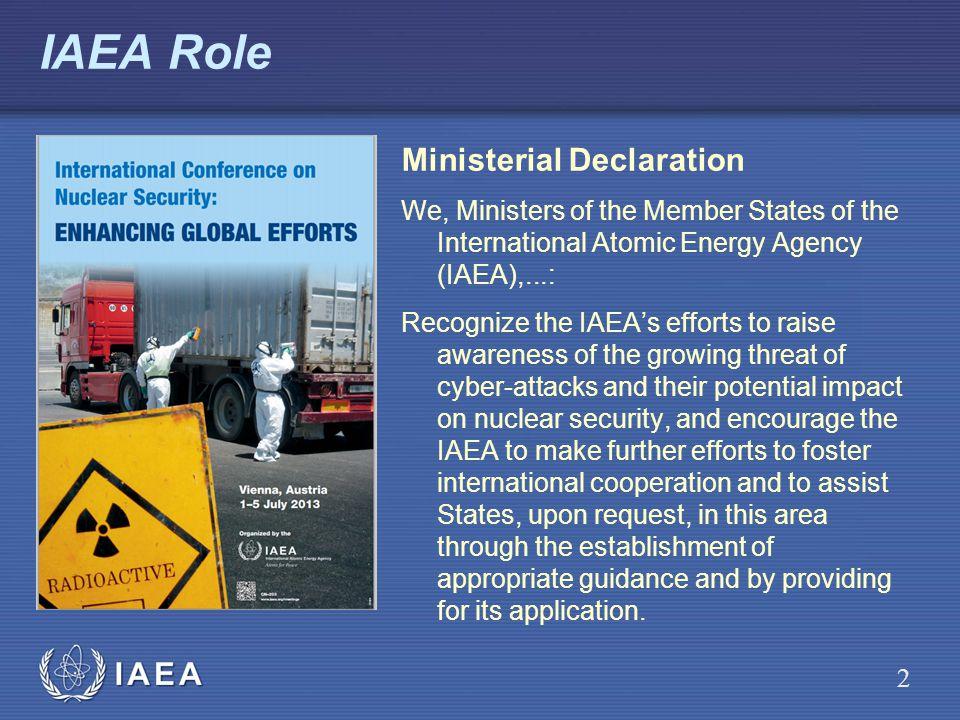 IAEA IAEA Role Ministerial Declaration We, Ministers of the Member States of the International Atomic Energy Agency (IAEA),...: Recognize the IAEAs ef