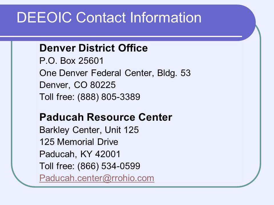 DEEOIC Contact Information Denver District Office P.O.