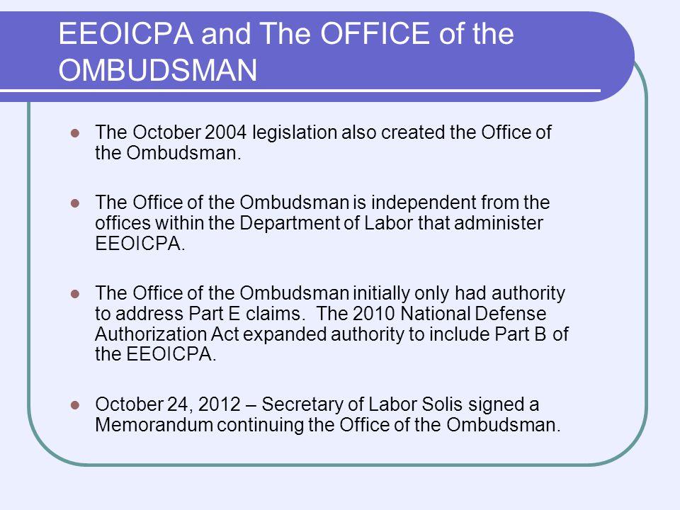 Benefits under EEOICPA Part BPart E $150,000 Employee or Survivor(s) Impairment $2,500 per % (Employee) $50,000 RECA Employee or Survivor(s) Wage Loss $10,000- $15,000 per year (Employee) $125,000 Survivor(s) $400,000 CAP for B+E combined Medical Benefits under Parts B & E