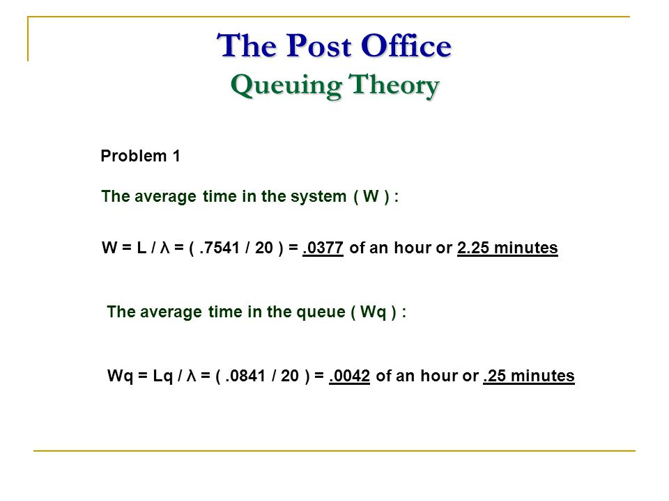 The Post Office Queuing Theory W = L / λ = (.7541 / 20 ) =.0377 of an hour or 2.25 minutes Problem 1 The average time in the system ( W ) : The averag