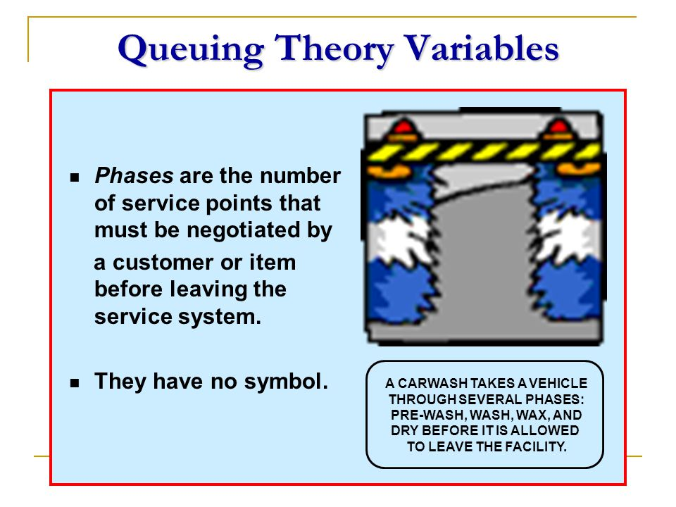 Queuing Theory Variables Phases are the number of service points that must be negotiated by a customer or item before leaving the service system. They