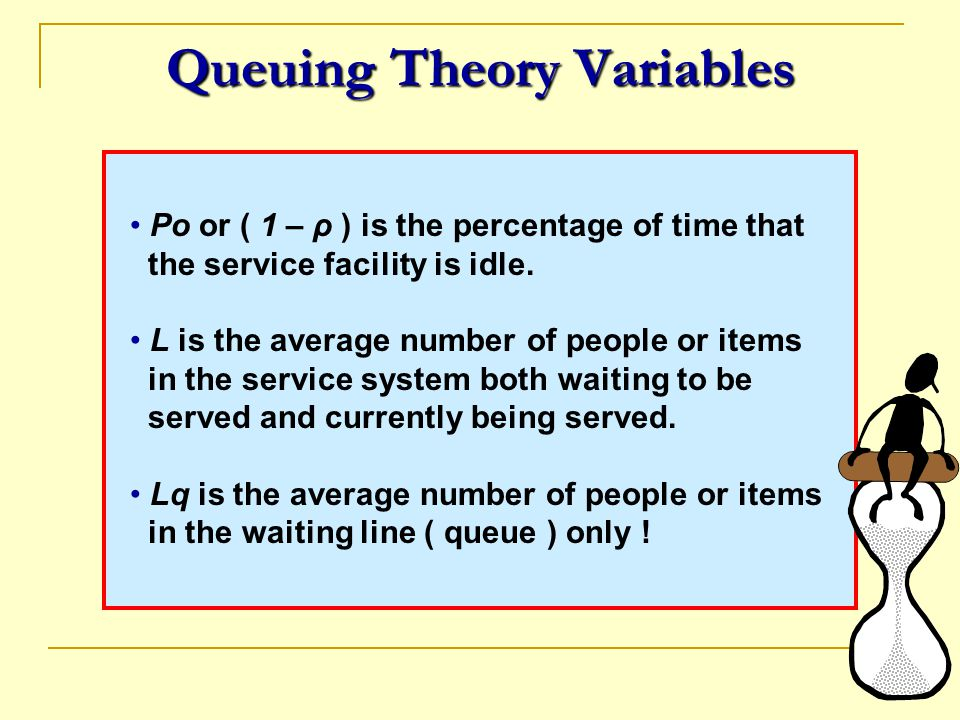 Queuing Theory Variables Po or ( 1 – ρ ) is the percentage of time that the service facility is idle. L is the average number of people or items in th