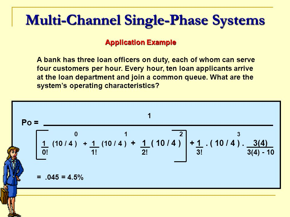 Multi-Channel Single-Phase Systems Application Example Application Example A bank has three loan officers on duty, each of whom can serve four custome