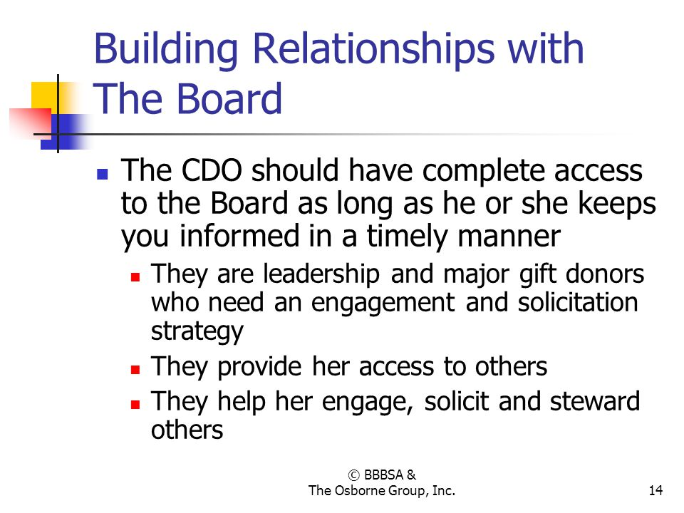 © BBBSA & The Osborne Group, Inc.14 Building Relationships with The Board The CDO should have complete access to the Board as long as he or she keeps