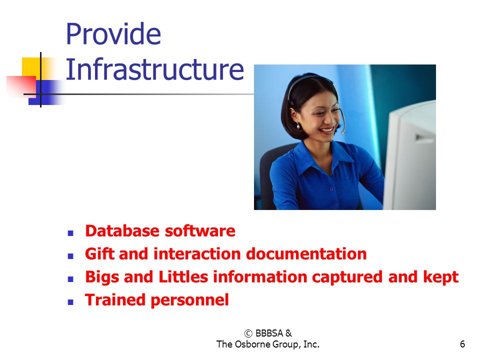 © BBBSA & The Osborne Group, Inc.6 Provide Infrastructure Database software Gift and interaction documentation Bigs and Littles information captured a