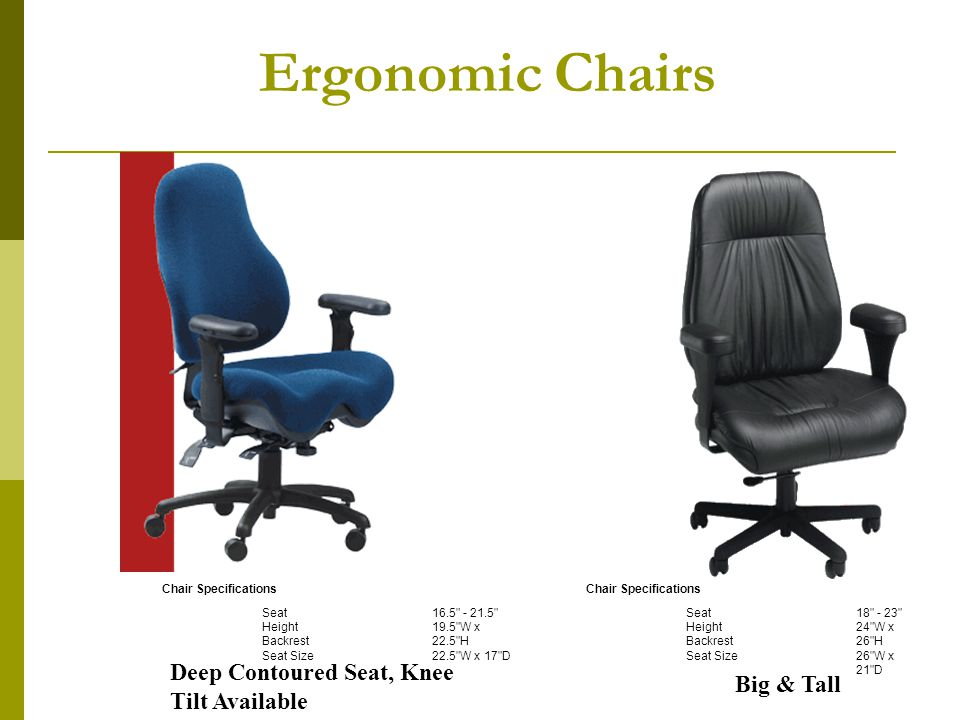 Ergonomic Chairs Chair Specifications Seat Height Backrest Seat Size 18