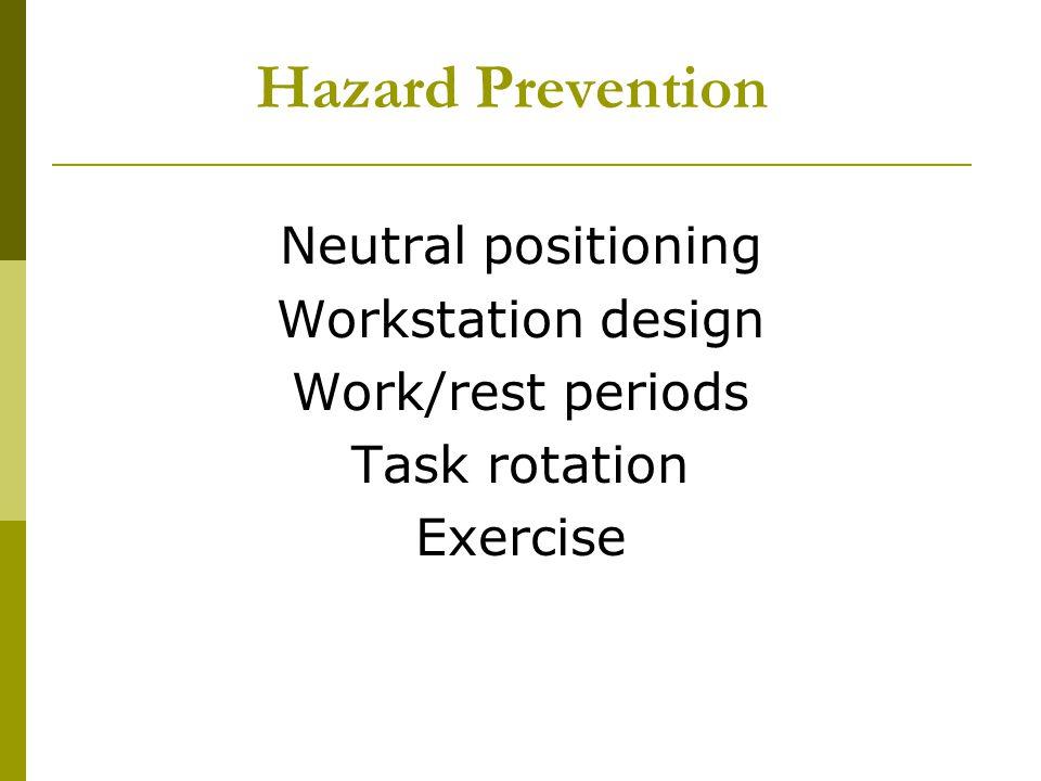 Hazard Prevention Neutral positioning Workstation design Work/rest periods Task rotation Exercise