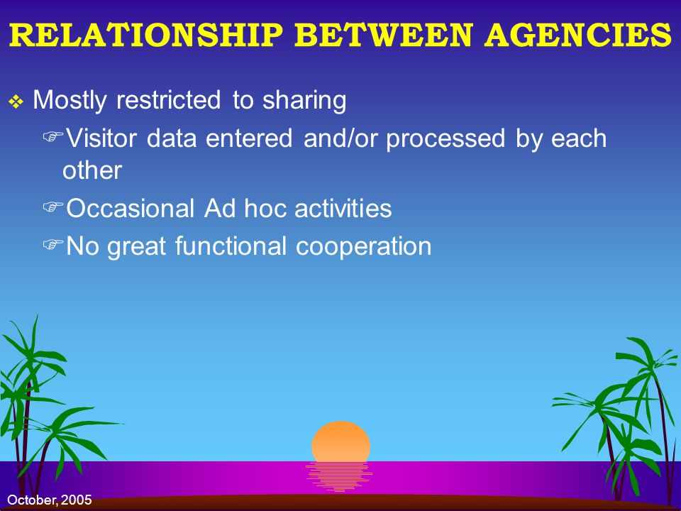 October, 2005 RELATIONSHIP BETWEEN AGENCIES Mostly restricted to sharing FVisitor data entered and/or processed by each other FOccasional Ad hoc activities FNo great functional cooperation